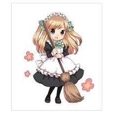 Cute Japanese Anime Maid Poster