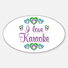 I Love Karaoke Sticker (Oval)