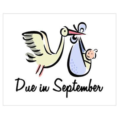 Due In September Stork Poster