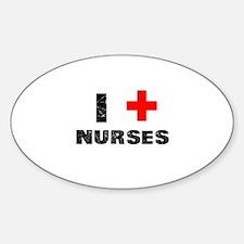 I Love Nurses Sticker (Oval)