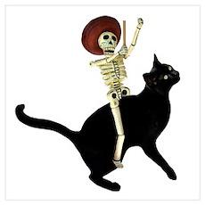 Skeleton Black Cat Poster