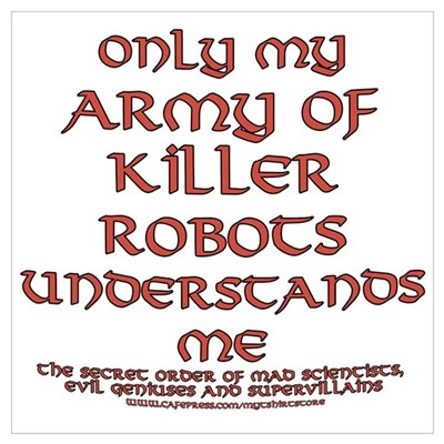 Army of Killer Robots Joke Canvas Art