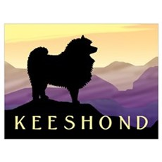 Keeshond Purple Mountain Framed Print