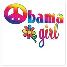 Obama Girls Peace Sign Poster
