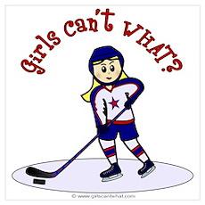 Blonde Hockey Girl Poster
