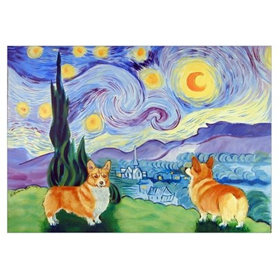 Welsh Corgi, , Starry Night Poster