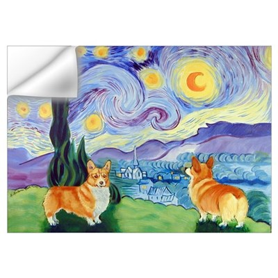 Welsh Corgi, , Starry Night Wall Decal