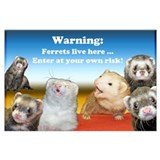 Warning ferrets live here Wrapped Canvas Art