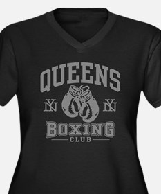 Queens Boxing Women's Plus Size V-Neck Dark T-Shir