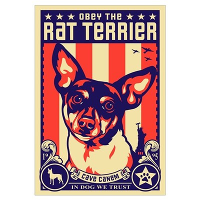 Obey the Rat Terrier! USA Canvas Art