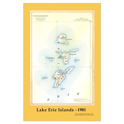 Historical 1901 Lake Erie Islands Map Poster