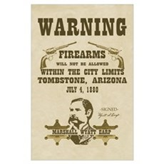 Warning - Firearms not Allowed Print Poster