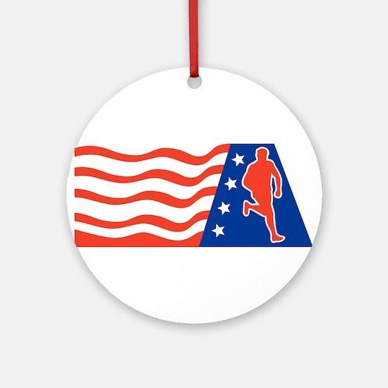 American Marathon runner Ornament (Round)