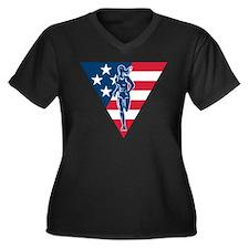 American Marathon runner Women's Plus Size V-Neck