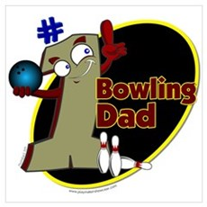 Green Number 1 bowling dad Poster