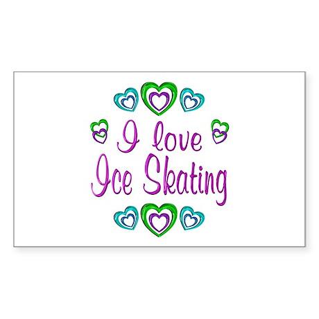 I Love Ice Skating Sticker (Rectangle)