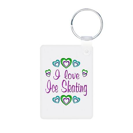 I Love Ice Skating Aluminum Photo Keychain