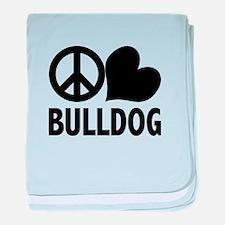Peace Love Bulldog baby blanket
