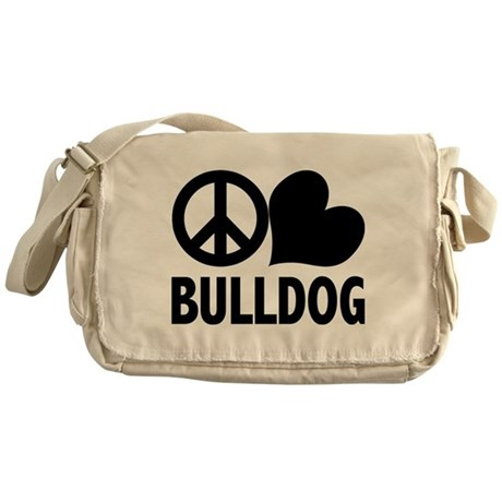 Peace Love Bulldog Messenger Bag