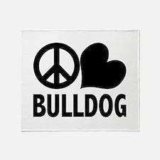 Peace Love Bulldog Throw Blanket