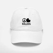 Peace Love Bulldog Baseball Baseball Cap