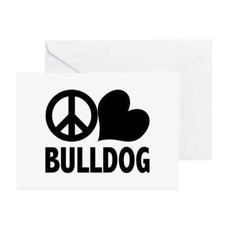Peace Love Bulldog Greeting Cards (Pk of 10)