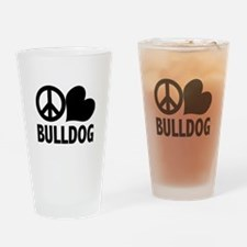 Peace Love Bulldog Drinking Glass