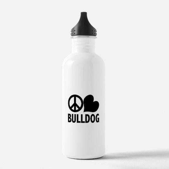 Peace Love Bulldog Water Bottle