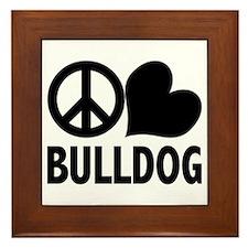 Peace Love Bulldog Framed Tile