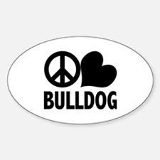 Peace Love Bulldog Decal