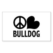 Peace Love Bulldog Decal