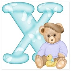 Teddy Alphabet X Teal Framed Print