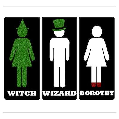 Oz Bathroom Signs Poster