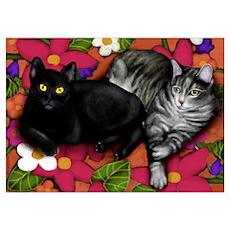 Black Cat & Gray Tabby Cat Poster