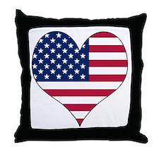 U.S.A. Heart Throw Pillow