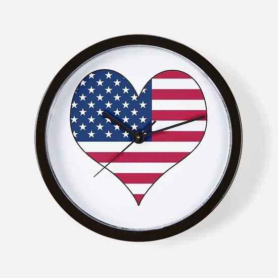 U.S.A. Heart Wall Clock