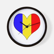 Romania Heart Wall Clock