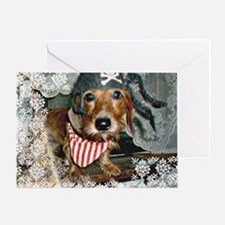 Puppy in Pirate Costume Greeting Card