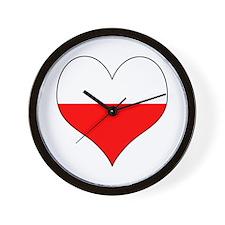 Poland Heart Wall Clock