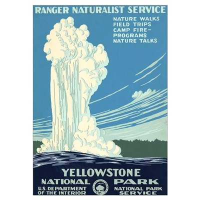 1930s Vintage Yellowstone National Park Large Fram Poster