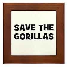 Save The Gorillas Framed Tile