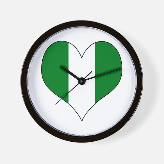 Nigeria Heart Wall Clock