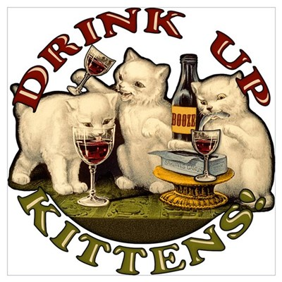 Drink Up Kittens Canvas Art