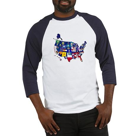 USA State Flags Baseball Jersey