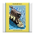 """Surfing Dog"" Tile Coaster"