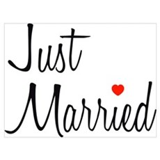 Just Married (Black Script w/ Heart) Framed Print