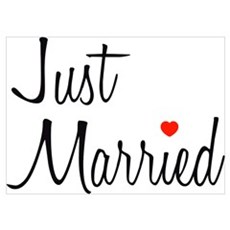 Just Married (Black Script w/ Heart) Poster