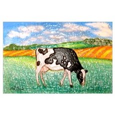 Cow in Meadow Poster