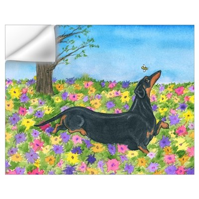 Spring Flowers Doxie Wall Decal