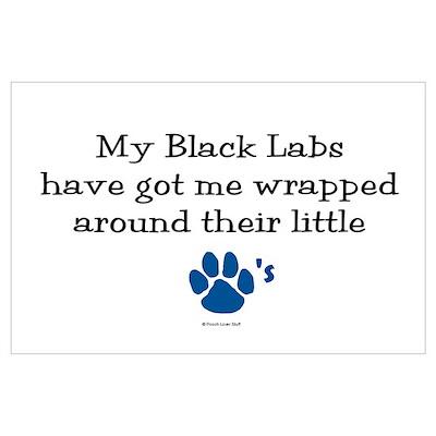 Wrapped Around Their Paws (Black Lab) Poster